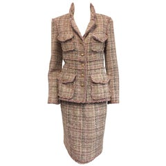 Chanel Fantasy Pink Tweed Skirt Suit With Banded Waist and Patch Pockets EU 38