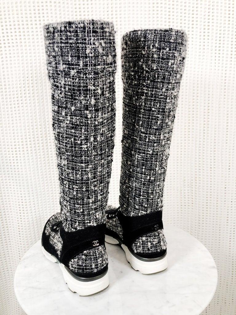 Women's Chanel Fantasy Tweed Black & White Knee-High Sneaker Boots W/