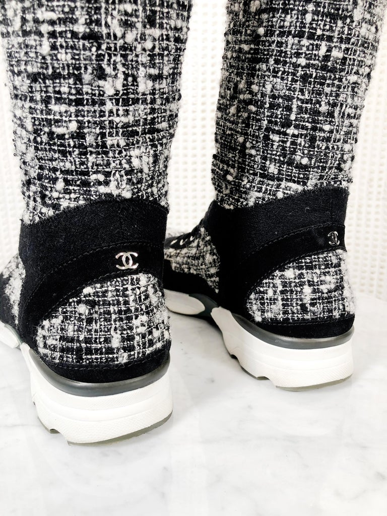 Chanel Fantasy Tweed Black & White Knee-High Sneaker Boots W/