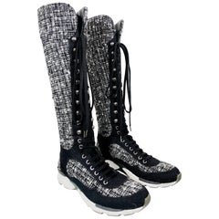 "Chanel Fantasy Tweed Black & White Knee-High Sneaker Boots W/ ""CC"" Logo"