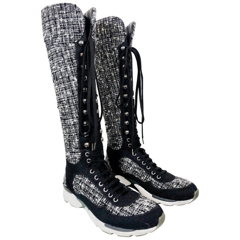 """Chanel Fantasy Tweed Black & White Knee-High Sneaker Boots W/ """"CC"""" Logo For Sale"""