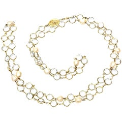 Chanel Faux Pearl And Bevel Crystal Wrap Necklace