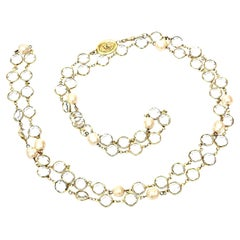 Chanel Faux Pearl And Bevel Crystal Wrap Necklace Vintage