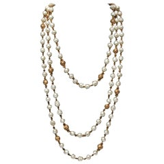 CHANEL Faux Pearl and Chain Necklace