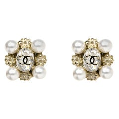 Chanel Faux Pearl and Crystal CC Clip-on Earrings