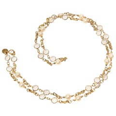 Chanel Faux Pearl and Faceted Crystal Sautoir Necklace Vintage