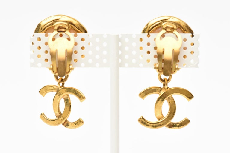 Modern Chanel Faux Pearl and Gold Plated Drop Clip On Earrings Vintage For Sale