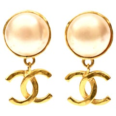 Chanel Faux Pearl and Gold Plated Drop Clip On Earrings Vintage