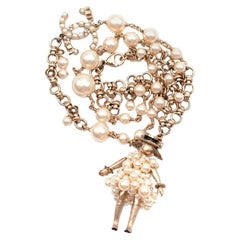 Chanel Faux Pearl Chain Necklace with Coco doll Pendant