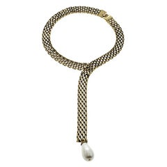 Chanel Faux Pearl Gold Tone Chain Collar Necklace