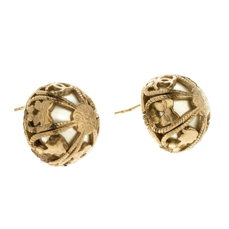 Contemporary Chanel Faux Pearl Gold Tone Dome Stud Earrings For Sale