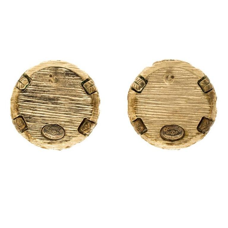 Women's Chanel Faux Pearl Gold Tone Dome Stud Earrings For Sale