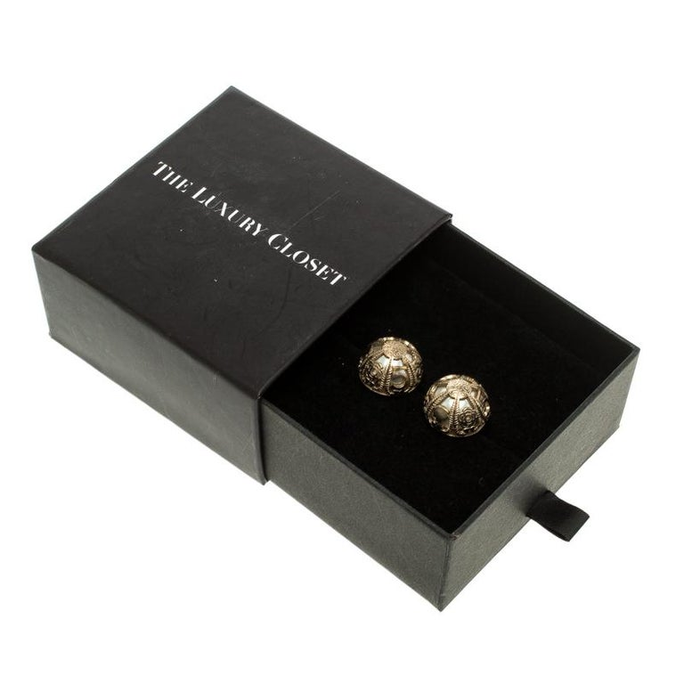 Chanel Faux Pearl Gold Tone Dome Stud Earrings For Sale 2