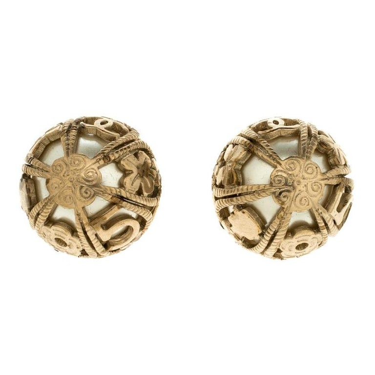 Chanel Faux Pearl Gold Tone Dome Stud Earrings For Sale