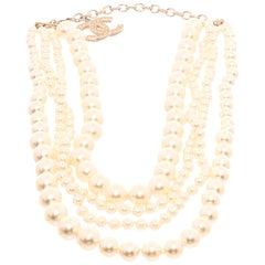 Chanel Faux Pearl Multistrand CC Necklace