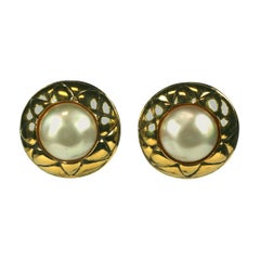 Chanel Faux Pearl Quilted Earrings