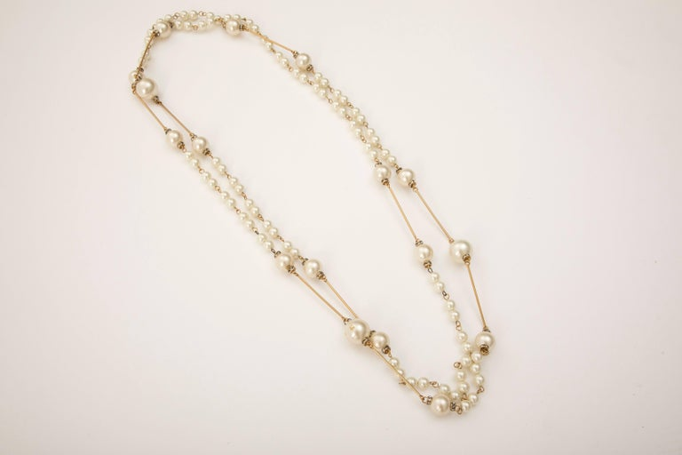 Art Deco Chanel Long Faux Pearl Crystal Stations Sautoir, Spring 2001 For Sale
