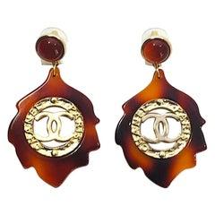 Chanel Faux Tortoise Pendant Earrings,