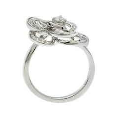 Chanel Fil De Camelia Diamond 18k White Gold Cocktail Ring Size 52