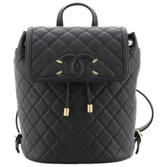 Chanel Filigree Backpack Quilted Caviar Large