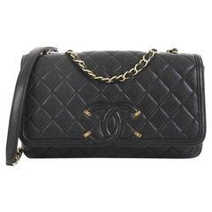 Chanel Filigree Flap Bag Quilted Caviar Medium