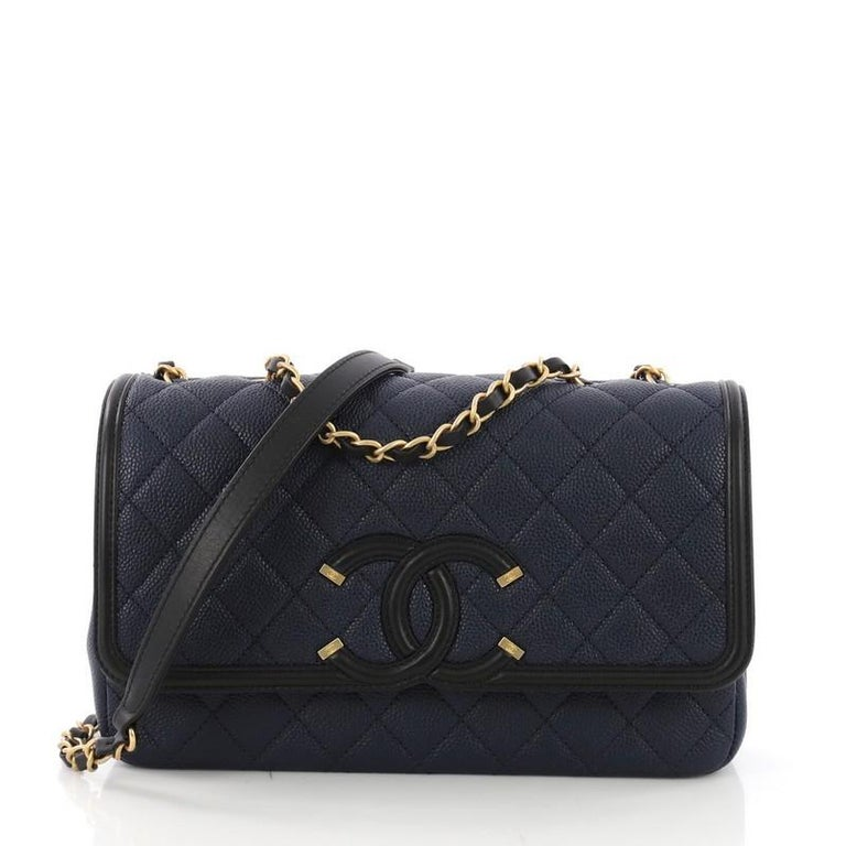 a12978eed723 Chanel Filigree Flap Bag Quilted Caviar Medium at 1stdibs