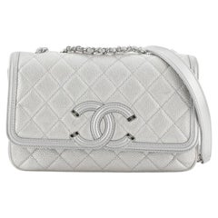 Chanel Filigree Flap Bag Quilted Caviar Small