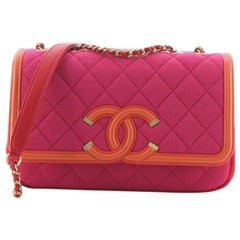 Chanel Filigree Flap Bag Quilted Jersey Small