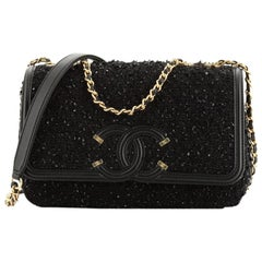 Chanel Filigree Flap Bag Quilted Tweed Small