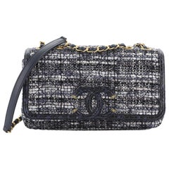 Chanel Filigree Flap Bag Quilted Tweed With Watersnake Medium