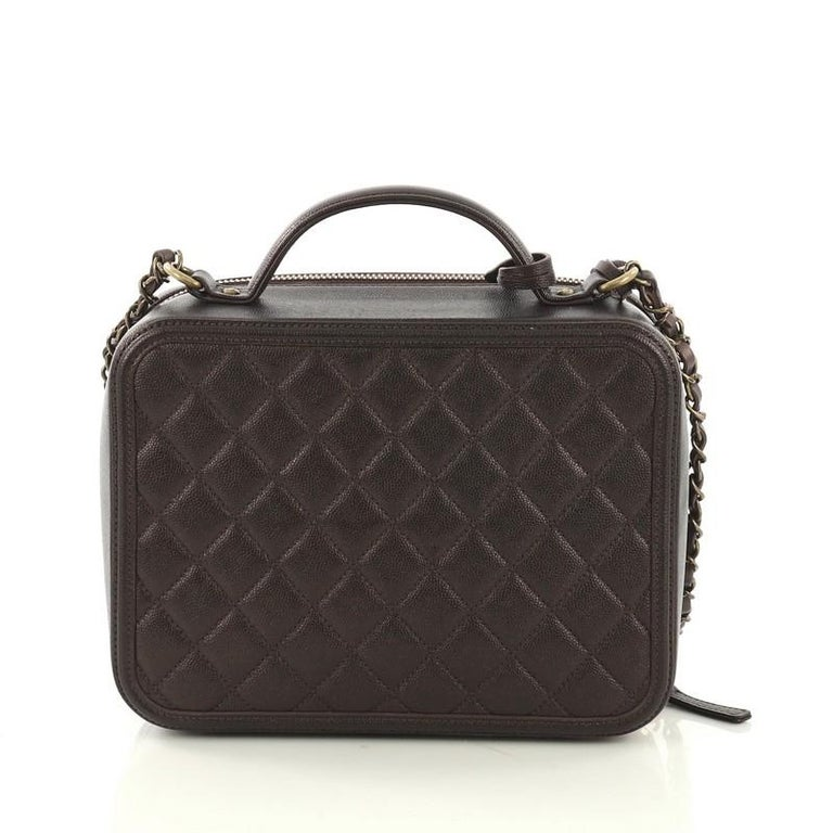 Chanel Filigree Vanity Case Quilted Caviar Large For Sale