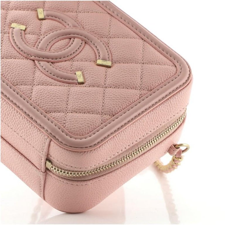 Chanel Filigree Vanity Case Quilted Caviar Small For Sale 2