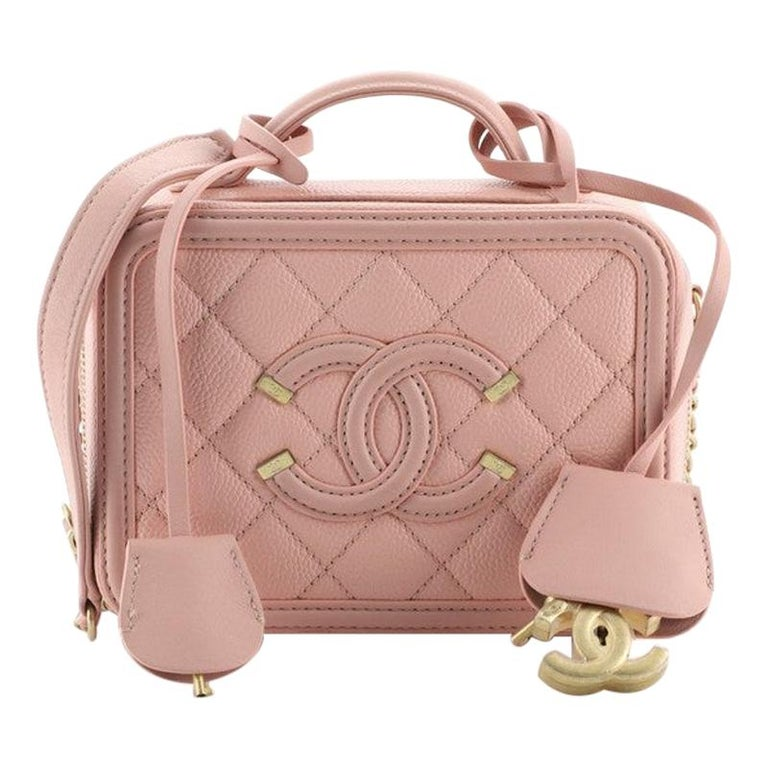 Chanel Filigree Vanity Case Quilted Caviar Small For Sale