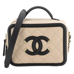 Chanel Filigree Vanity Case Quilted Caviar Small