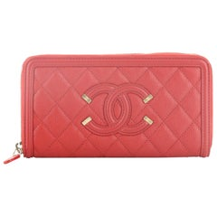 Chanel Filigree Zip Around Wallet Quilted Caviar Long