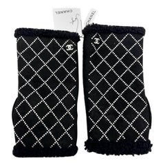 Chanel Fingerless Gloves - Black Suede Shearling Diamonte