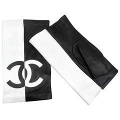 Chanel Fingerless Gloves - Black White leather