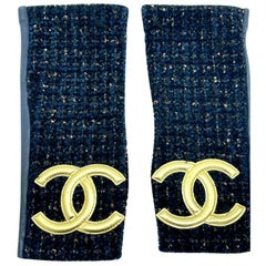 Chanel Fingerless Gloves - Navy Tweed