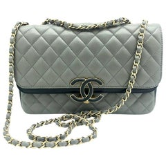 Chanel Flap Bag - Grey Lambskin Leather