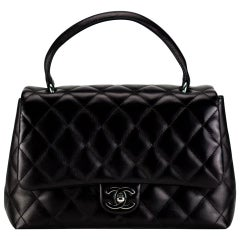 Chanel Flap Bag with Rare Limited Edition Top Handle Medium Black Soft Lambskin