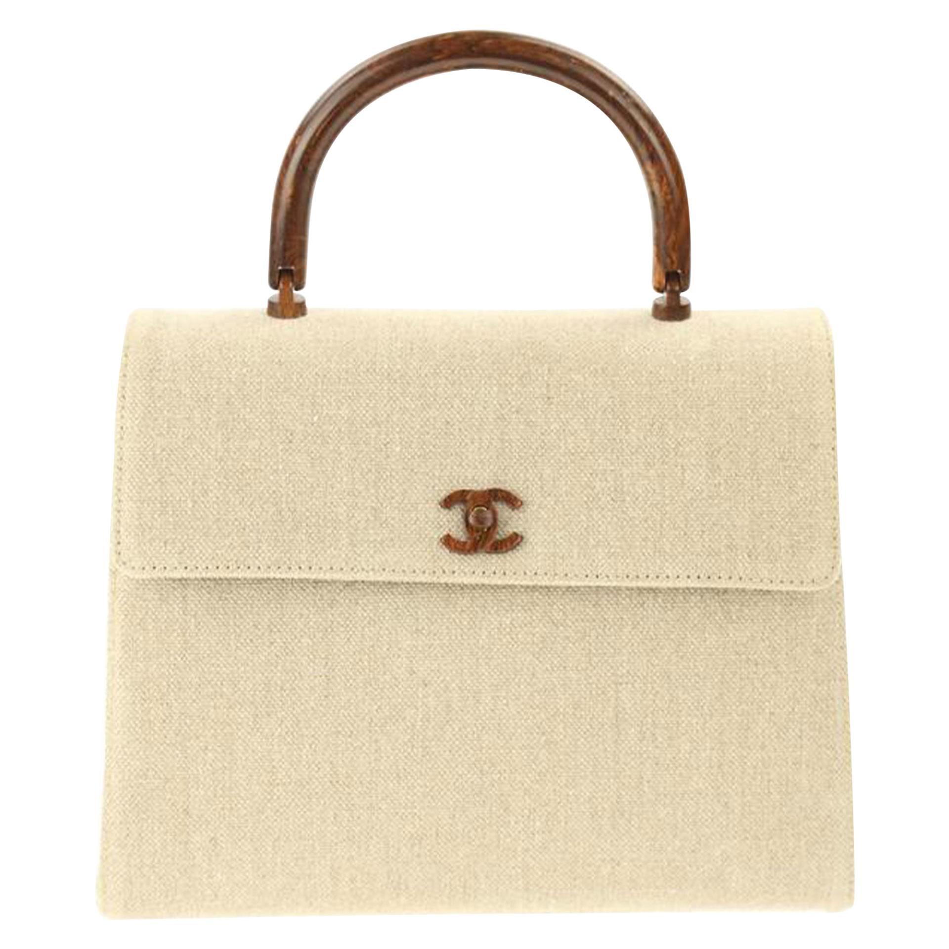 Chanel Flap Bag with Top Handle Wood Beige Canvas Satchel