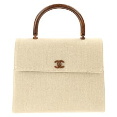 Chanel Flap Bag with Top Handle Wood Beige Canvas Satchel
