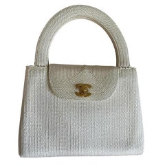 Chanel Flap Bag with Woven Silk Vintage Top Handle Off White Beige Raffia Tote