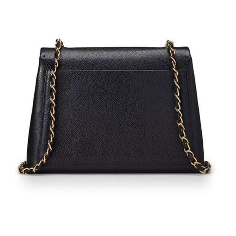 Chanel Flap Box Vintage 1997 Classic Single Rare Black Caviar Leather Bag In Good Condition For Sale In Miami, FL