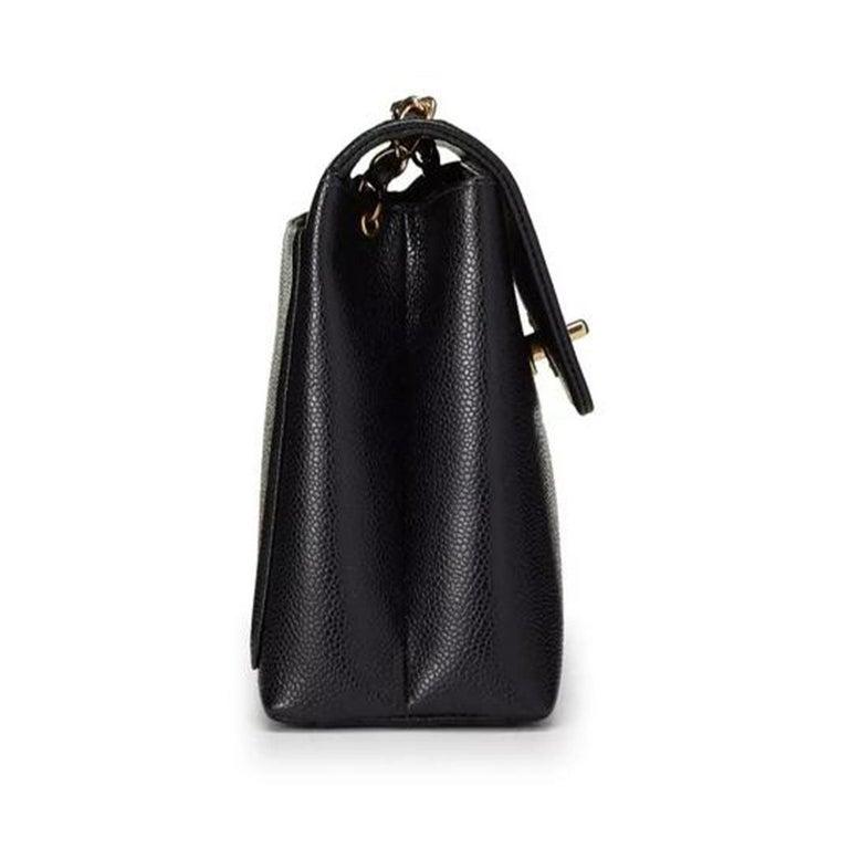 Women's or Men's Chanel Flap Box Vintage 1997 Classic Single Rare Black Caviar Leather Bag For Sale