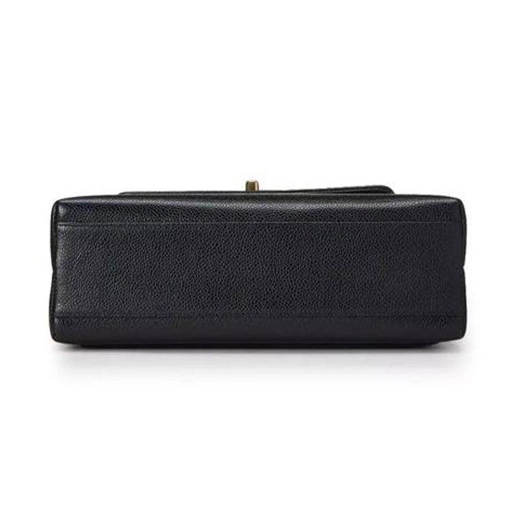 Chanel Flap Box Vintage 1997 Classic Single Rare Black Caviar Leather Bag For Sale 1