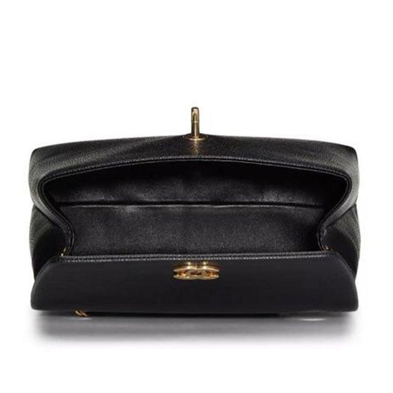 Chanel Flap Box Vintage 1997 Classic Single Rare Black Caviar Leather Bag For Sale 2