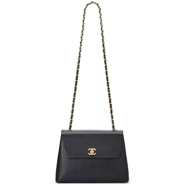 Chanel Flap Box Vintage 1997 Classic Single Rare Black Caviar Leather Bag For Sale 3