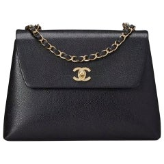 Chanel Flap Box Vintage 1997 Classic Single Rare Black Caviar Leather Bag