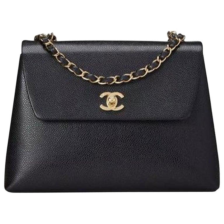 Chanel Flap Box Vintage 1997 Classic Single Rare Black Caviar Leather Bag For Sale